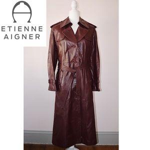 Vintage Etienne Aigner Oxblood Leather Trench Coat